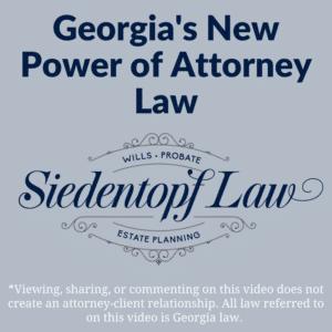 Georgia New Power of Attorney Law